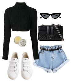 """""""Untitled #5856"""" by lilaclynn ❤ liked on Polyvore featuring Veja, Pierre Balmain, Prada, Le Specs and balmain"""