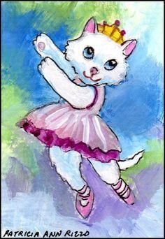 NFAC ACEO Original Jan. Costumed Cats, Ballerina on Cloud 9 - Patricia Ann Rizzo #Miniature