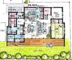 framy712 Craftsman Floor Plans, House Floor Plans, Interior Design Sketches, A Frame House, Cabins And Cottages, Japanese Architecture, Japanese House, House Layouts, Social Media Design