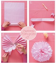 How to do pom-pom Pom Pom Flowers, Tissue Paper Flowers, Diy Flowers, Diy Arts And Crafts, Fun Crafts, Crafts For Kids, Paper Crafts, 2nd Birthday Parties, Girl Parties