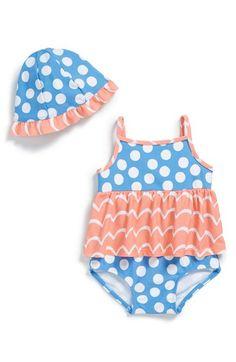 Tucker + Tate Skirted One-Piece Swimsuit & Sun Hat (Baby Girls) | Nordstrom