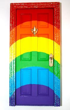 This is a miniature door for the tooth fairy...however it would be fun for a playhouse.  Though I doubt I'd ever really do it...I like the rainbow! :)
