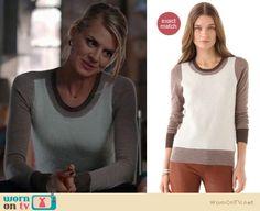 Jane wore this sweater briefly on Happy Endings last week, it is by J Brand http://wornontv.net/9657