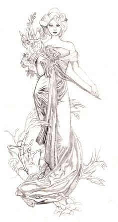 Dessin Vrouw Alfons Mucha: Tekening-Kleurplaat-Patroon-Prent *Drawing-Colouring Picture-Pattern ~Le Printemps~