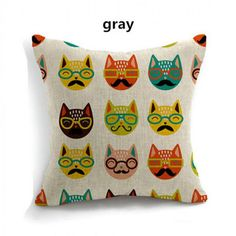 Cartoon animal owl pillow linen sofa cushion for home decoration
