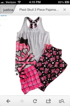 Pink, black, white, & gray skull Pj's from Justice! LOVE!