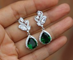 silver Emerald earring green earring wedding earring by arbjewelry