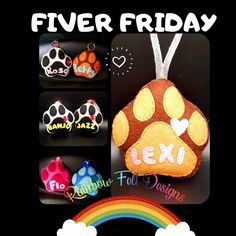 Felt Gifts, Hanging Decorations, Pet Paws, Small Businesses, Friday, Rainbow, Colour, Pop, Handmade Gifts