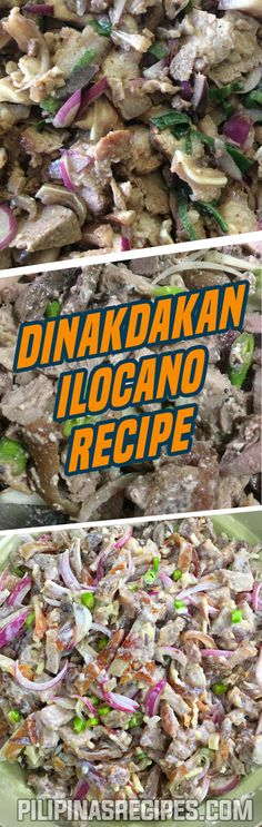 Dinakdakan is originally from the Ilocos Region. It is an appetizer dish that makes use of boiled and grilled pig parts (ears, liver, and face) called Mascara. Stomach and intestines can also be substituted for the lack of the other parts of the pig