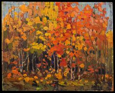 Tom Thomson Catalogue Raisonné | Autumn Woods, Fall 1915 (1915.89) | Catalogue entry Group Of Seven Art, Group Of Seven Paintings, Landscape Quilts, Abstract Landscape, Landscape Paintings, Canadian Painters, Canadian Artists, Painting Prints, Painting & Drawing