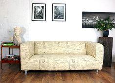 Ikea Klippan Slipcover in Beautiful Script by HipicaInteriors