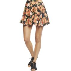 Floral Needle Point Ponte Skater Skirt ($5) ❤ liked on Polyvore