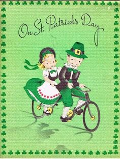 St Patrick's Day Card Cute Couple on Tandem Bike