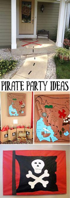 Pirate Party Ideas Piratenparty-Ideen für Love The Day Pirate Day, Pirate Birthday, Pirate Theme, Pirate Halloween Party, Pirate Decor, Pirate Crafts, Halloween Kids, Peter Pan Party, 4th Birthday Parties