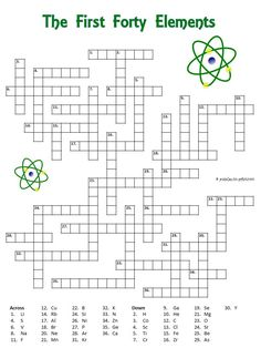 Crossword puzzle with the first forty elements. The clues are the symbols. Good for a chemistry class. Chemistry Classroom, High School Chemistry, Chemistry Lessons, Teaching Chemistry, Science Chemistry, Middle School Science, Physical Science, Science Lessons, Science Symbols