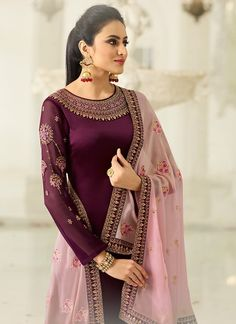 Plum Two Tone Traditional Embroidered Palazzo Suit Set shows combination of embossed zari and thread embedded designer traditional embroidery on heavy georgette satin fabric top with minimalist detail paired with designer santoon palazzo Latest Punjabi Suits Design, Designer Punjabi Suits, Indian Designer Wear, Western Dresses, Indian Dresses, Indian Outfits, Indian Clothes, Salwar Suits Party Wear, Party Suits