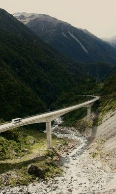 Otira - viaduct, West Coast, NZ First time we drove over this it was foggy and we were over it before we realised. The old road was one of only two roads I have seen in NZ that had a sign to change down to first gear going uphill. The other is the hill at Bluff.
