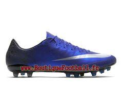 online store d6326 82f23 Nike Mercurial Victory V AG-R CR7 Chaussure de football A crampons pour  terrain synthétique pour Homme Bleu royal profond Bleu coureur Noir Argent  ...