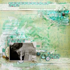 Riikka Kovasin - Paperiliitin - amazing mixed media layout with painted background techniques with layers of Glimmer Mist - #tatteredangels #glimmermist
