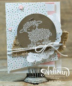 Soft and sweet card for baby's shower or first Easter featuring Easter Lamb stamp by Stampin' Up! Easter Lamb, Up Balloons, Kids Cards, Baby Cards, Paper Cards, Cute Cards, Easter Crafts, Homemade Cards, Stampin Up Cards