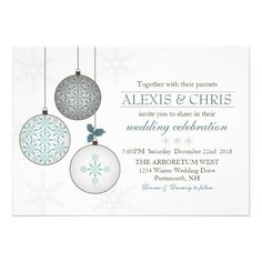 Modern Winter Wedding Invitations with Snowflakes and Holiday Ornaments in Teal Brown