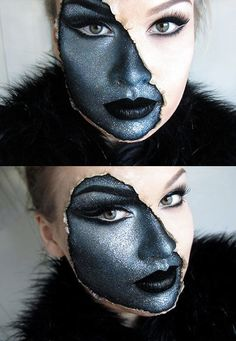 "From Horrific Finds on Facebook. ""Revealing your Dark Side."" If I work on my smokey eye techniques, this would be easy to pull off!"