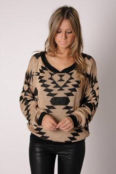 Tan and black tribal print sweater, I'm in love with this sweater :-)