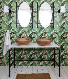 London Basin Company's bathroom decor looks perfect paired with our tropical Solstice wallpaper pattern. | Get inspired by the unique and creative spaces styled by our community and start creating your dream space, today. Click this photo to discover more unique room makeovers from MuralsWallpaper customers! Double Vanity Unit, Vanity Units, Countertop Basin, Basin Sink, Bathroom Interior, Bathroom Ideas, Photo Mural, Outdoor Rooms, Indoor Outdoor
