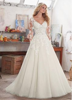 Buy discount Amazing Tulle & Satin V-Neck A-Line Wedding Dresses With Lace Appliques at Magbridal.com