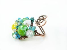 Multistone ring multicolored ring colorful by MargoHandmadeJewelry