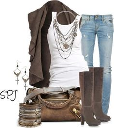 White ribbed tank. Destroyed ripped skinny jeggings jeans brown cardigan sweater. Fall winter look outfit