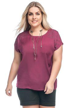 eef406b295 Blusa Feminina Plus Size Lisa Peletizada Com Strass - Pink