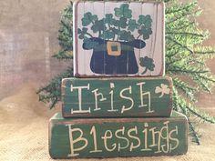 Country St Patrick's Day Shamrock Hat Irish Blessings Shelf Sitter Wood Blocks #CountryPrimitiveRustic #DoughandSplinters