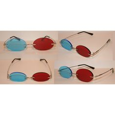 Standard Red and Blue 3D Oval glasses. ($22) ❤ liked on Polyvore featuring accessories, eyewear, eyeglasses, glasses, homestuck, 3d, cosplay, sollux, red tinted glasses en red eye glasses
