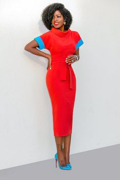 Style Pantry | Folded Neck Dress w/ Contrast Sleeves