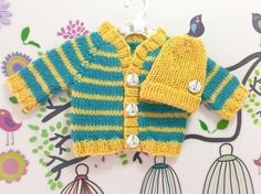 Hand Knitted Premmie, Premature, Newborn Baby Boy Cardigan Top Beanie Hat Set, Australian Pure New Wool, Turquoise Yellow, Yacht Buttons by KnittedAsOne on Etsy