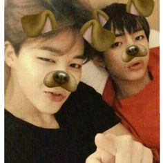 Jimin and Taehyung with puppy snapchat filters