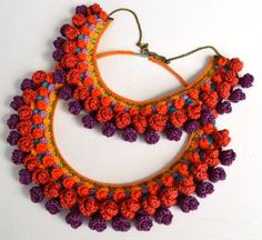 statement mexican necklace, gypsy necklace, big bold chunky necklace, large ethnic necklace, aztec n Aztec Necklaces, Unique Necklaces, Boho Necklace, Crochet Necklace, Boho Jewelry, Funky Earrings, Crochet Collar, Arte Popular, Crochet Patterns