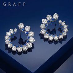 "6,612 Likes, 30 Comments - Graff Diamonds (@graffdiamonds) on Instagram: ""Blue Moon: A delightful pair of stunning round, avant garde sapphire and diamond earrings that…"""