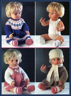 Dolls Clothes Knitting Pattern : 16 inch doll : Tiny Tears : First Love Doll Knitting Dolls Clothes, Knitted Dolls, Doll Clothes Patterns, Doll Patterns, Clothing Patterns, Baby Born Clothes, Bitty Baby Clothes, Baby Knitting Patterns, Baby Patterns