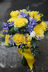 wedding - blue and yellow flowers