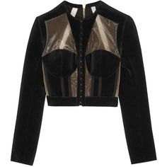 BalmainCropped Paneled Velvet And Mesh Jacket ($4,530) ❤ liked on Polyvore featuring outerwear, jackets, black, velvet jacket, balmain jacket, beige cropped jacket, balmain and collarless jacket