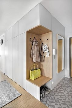 As well as three bedrooms, the upper floor also accommodates a laundry area and a corridor that leads to an outdoor terrace. Latest Cupboard Designs, Bedroom Cupboard Designs, Wardrobe Design Bedroom, Hallway Furniture, Home Decor Furniture, Flur Design, Wall Design, Home Room Design, Home Interior Design