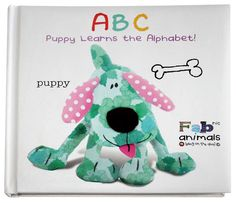 Puppy ABC Book Fabric Animals, Learning The Alphabet, Recycled Fabric, Dinosaur Stuffed Animal, Recycling, Puppies, Christmas Ornaments, Toys, Holiday Decor