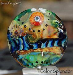 Color Splendor handmade focalbead XXL lentil in by Beadfairy, $19.90
