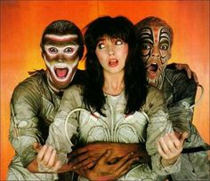 """Kate Bush in a still for """"The Dreaming"""" (1982) via the Cover Lovers (blogspot). This was Kate's contraversial critique of Australia with some very strangely painted """"indigenous"""" dancers, never seen before in Oz. View the video here at http://www.youtube.com/watch?v=M2Wa0LdCsvM"""