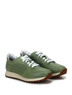 BARRACUDA - Sneakers - Uomo - Sneaker in pelle e pelle laminata con suola in gomma, tacco 30, platform 20 con battuta 10. - SALVIA - € 235.00