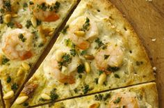 Foodista | Recipes, Cooking Tips, and Food News | Shrimp Scampi Pizza With Alouette Cheese