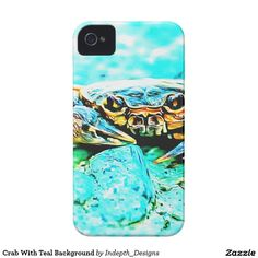 Crab With Teal Background iPhone 4 Covers