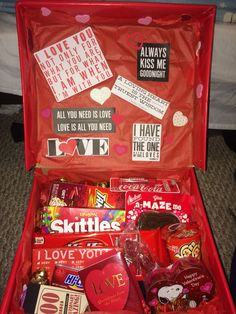 """Just made this for my boyfriend -- a spinoff of the """"sunshine in a box"""" but with red items. I know he's going to love it. Remember when it comes to finding the correct color of items that you can always wrap them if they aren't the right color! I included  -beanie -boxer briefs -cologne -socks -coke lip smackers -LOTS OF CANDY -quote book & kiss tickets from Barnes and noble (around $5 each)"""